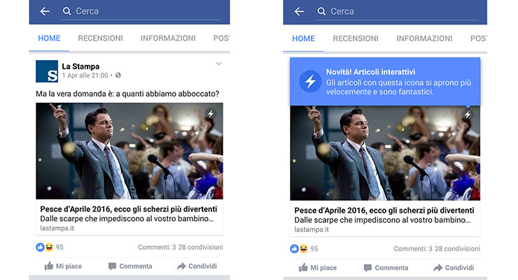 Anteprima Instant Articles di Facebook